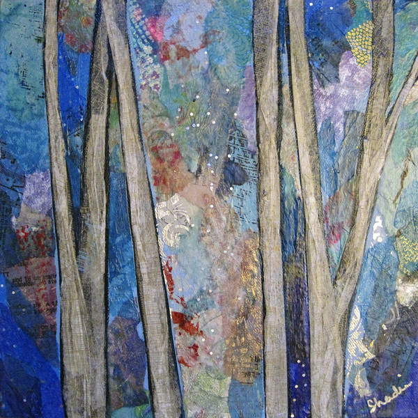 Wall Art - Painting - Sapphire Forest I by Shadia Derbyshire
