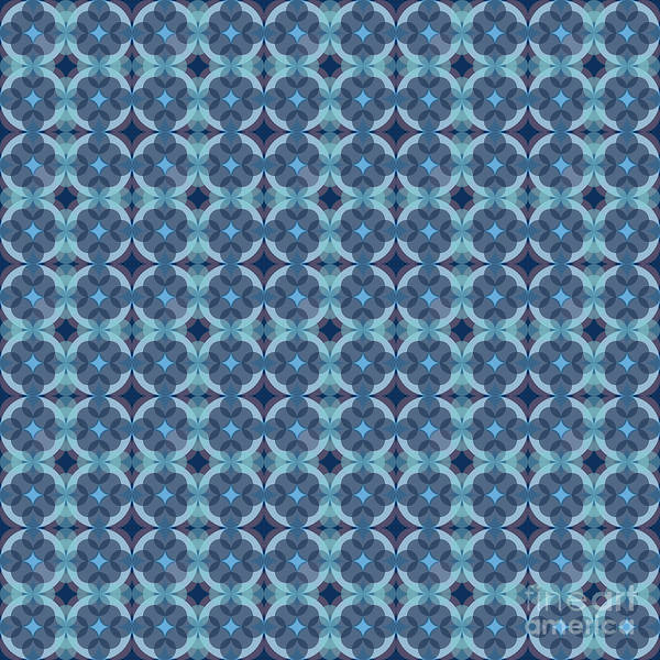 Textura Wall Art - Digital Art - Sapphire Kaleidoscope Pattern by Studio Textura