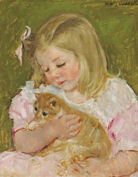 Sara Painting - Sara Holding A Cat by Mary Stevenson Cassatt