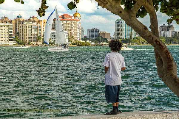 Photograph - Sarasota Bay Fisherman by Richard Goldman
