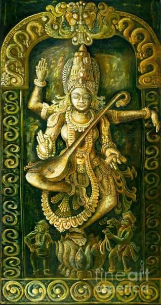 Hindu Goddess Wall Art - Painting - Saraswathi Stone Relief by Murali Surya
