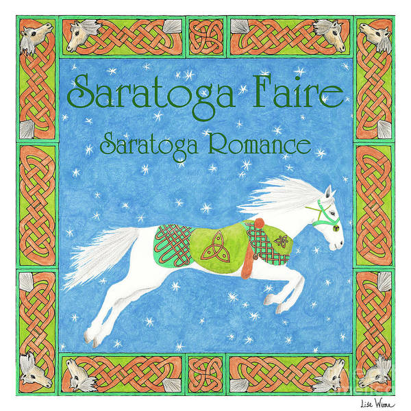 Drawing - Saratoga Faire Cd Cover Art With White Horse by Lise Winne