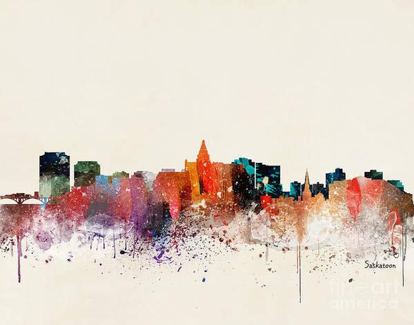 Wall Art - Painting - Saskatoon Skyline by Bri Buckley