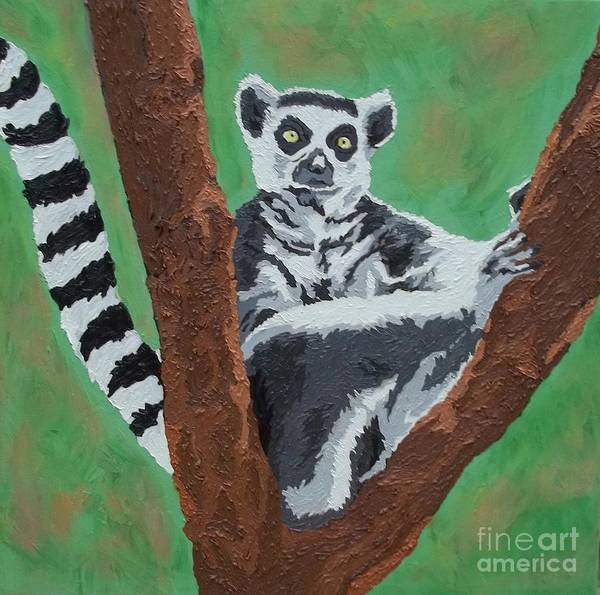 Ring-tailed Lemur Painting - Sassy Socialite by Amy Pugh