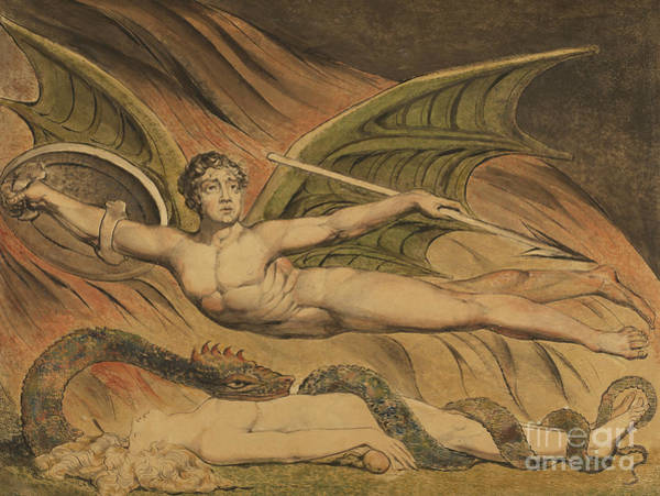 Satan Painting - Satan Exulting Over Eve, 1795  by William Blake
