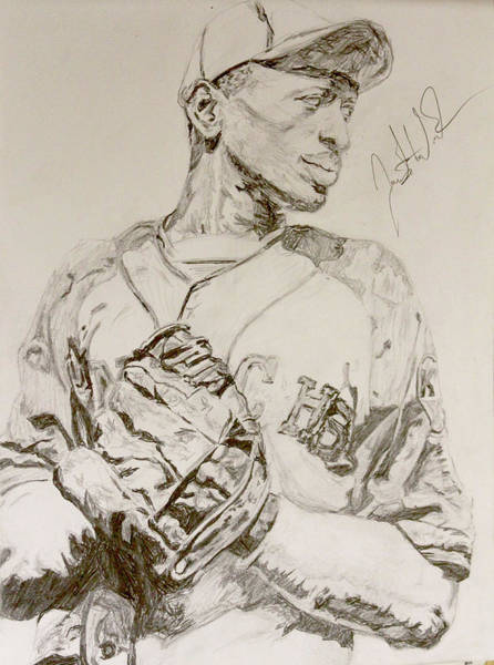 Wall Art - Drawing - Satchel Paige Poise by Justin Wade