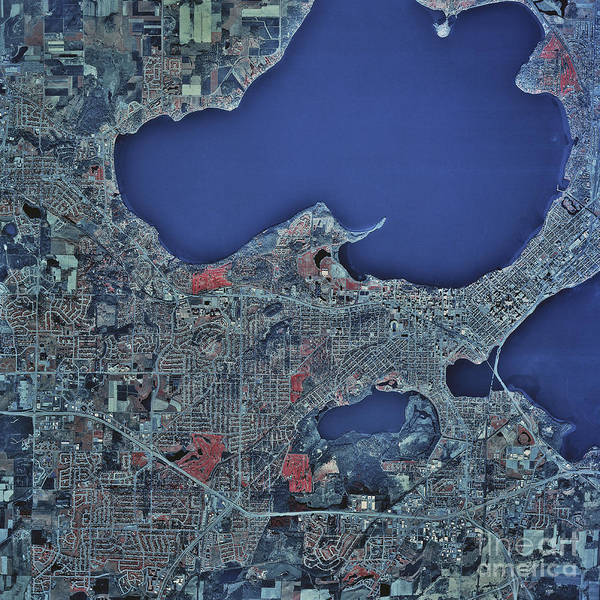 Satellite Image Wall Art - Photograph - Satellite View Of Madison, Wisconsin by Stocktrek Images