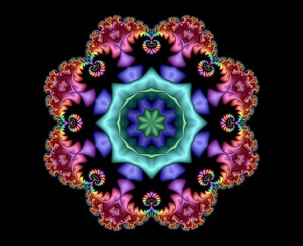 Digital Art - Satin Rainbow Fractal Flower I by Ruth Moratz