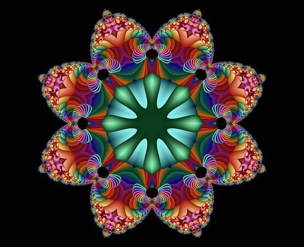Digital Art - Satin Rainbow Fractal Flower II by Ruth Moratz