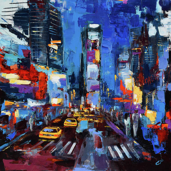 Painting - Saturday Night In Times Square by Elise Palmigiani