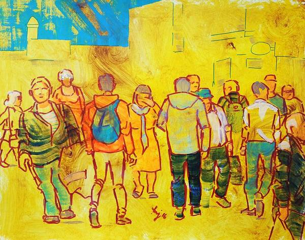 Painting - Saturday Shopping - People In The City by Mike Jory