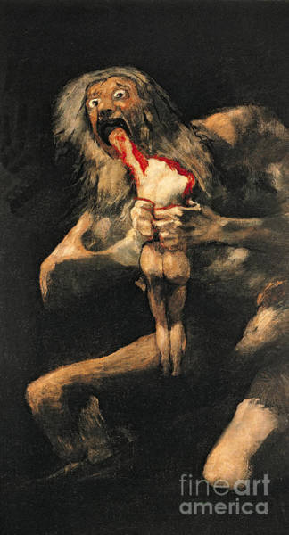 Satan Painting - Saturn Devouring One Of His Children  by Goya