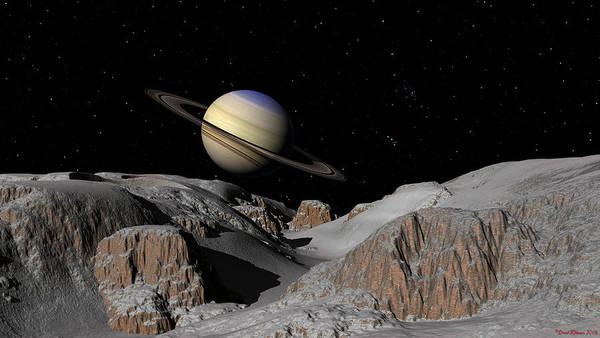 Digital Art - Saturn From The Moon Dione by David Robinson