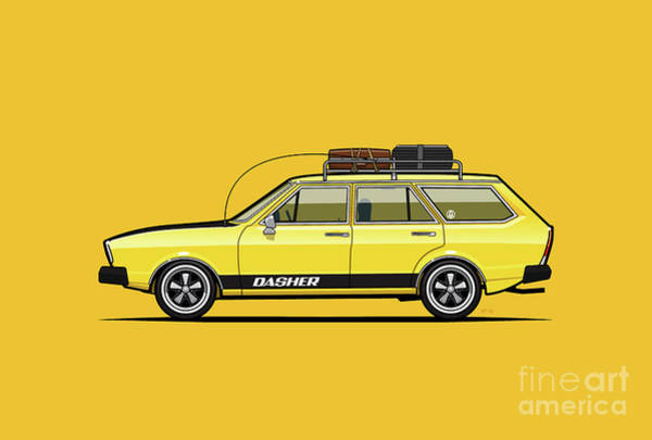 Wagon Digital Art - Saturn Yellow Volkswagen Dasher Wagon by Monkey Crisis On Mars