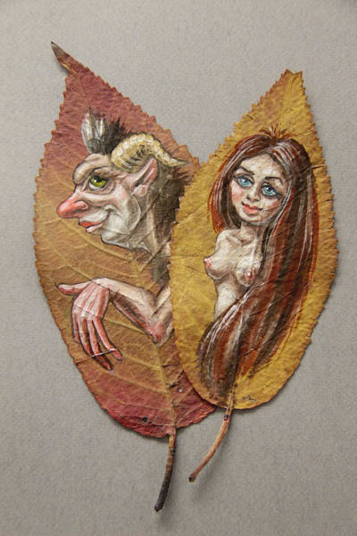Painting - Satyr And Fairy On Cherry Leaf  by Victor Molev