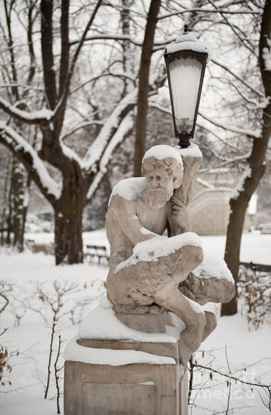 Wall Art - Photograph - Satyr Holding Lamp Statue In Winter by Arletta Cwalina