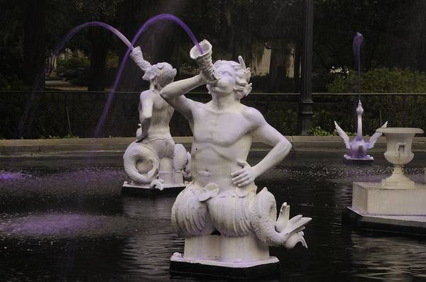 Photograph - Satyrs Spout Purple Water At Forsyth Fountain by Bradford Martin