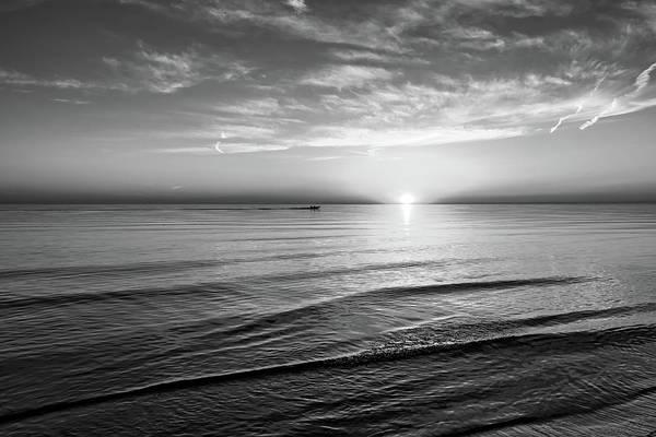 Sauble Beach Photograph - Sauble Beach Sunset 4 Bw by Steve Harrington