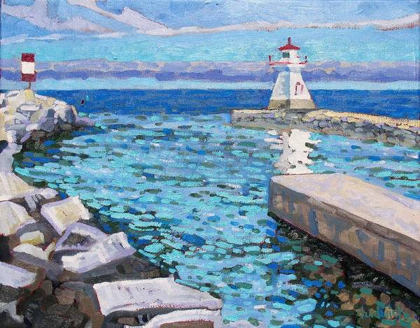 Lake Huron Painting - Saugeen Range Light by Phil Chadwick