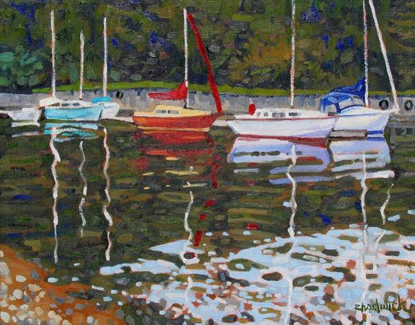 Lake Huron Painting - Saugeen Sailboats by Phil Chadwick