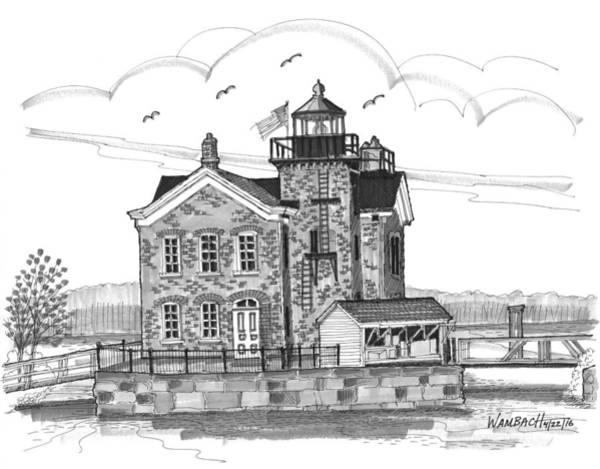 Drawing - Saugerties Lighthouse by Richard Wambach