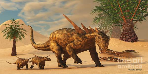 Primeval Painting - Sauropelta Dinosaur In Desert by Corey Ford