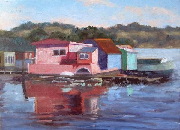 Sausalito Painting - Sausalito Houseboats by Deborah Cushman