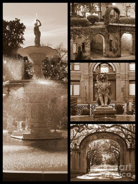 Photograph - Savannah Landmarks In Sepia by Carol Groenen