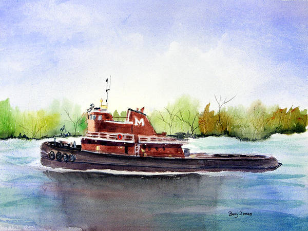 Painting - Savannah River Tug by Barry Jones
