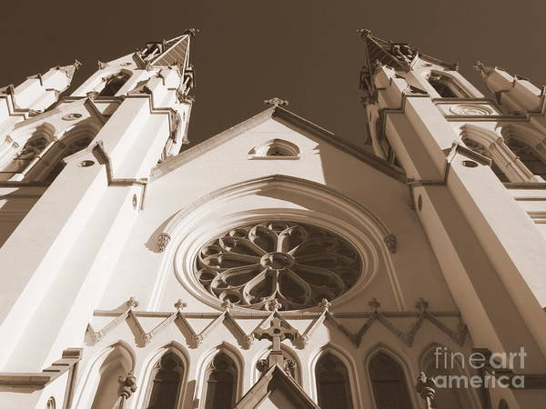Photograph - Savannah Sepia - Cathedral Of St John The Baptist In Savannah by Carol Groenen