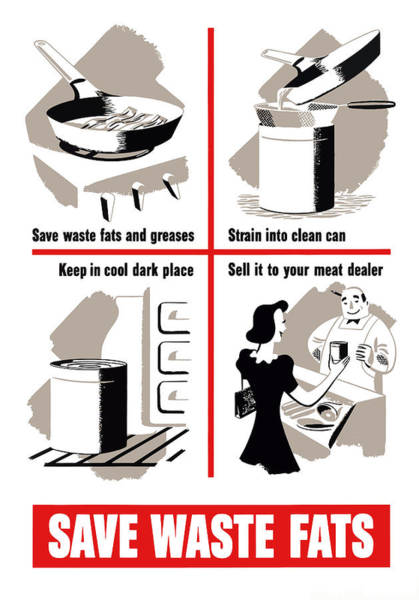 Political Propaganda Painting - Save Waste Fats - Ww2  by War Is Hell Store