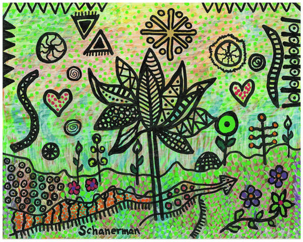 Drawing - Saved By The Doodle by Susan Schanerman
