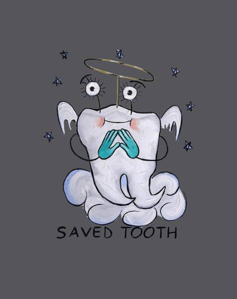 T-shirts Painting - Saved Tooth T-shirt by Anthony Falbo