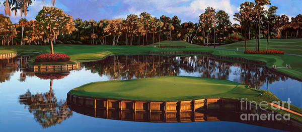 3 Painting - Sawgrass 17th Hole Hol by Tim Gilliland