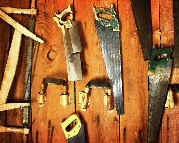 Toolshed Wall Art - Photograph - Saws by Timothy Bulone