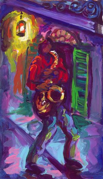 Wall Art - Painting - Sax In The Streets by Saundra Bolen Samuel