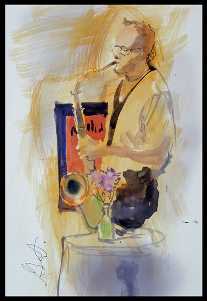 Sax Painting - Sax Man by Gertrude Palmer