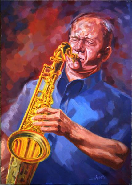 Sax Painting - Sax Player  by Ahmed Bayomi