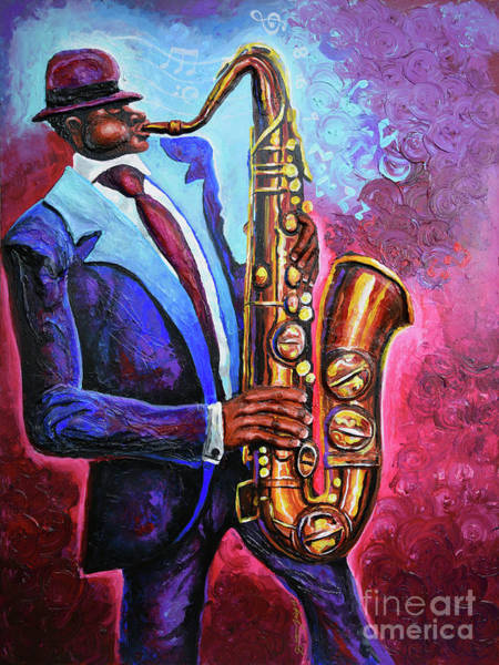 Wall Art - Painting - Saxaphone Blues by The Art of DionJa'Y