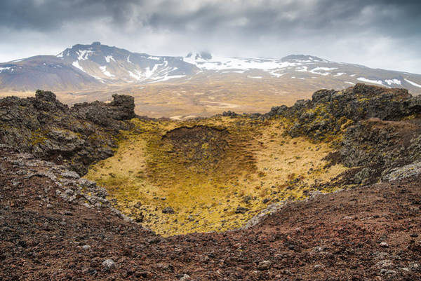 Photograph - Saxholl Crater Iceland Warm Earth Tones by Matthias Hauser
