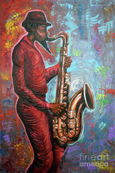 Wall Art - Painting - Saxin That Tune by The Art of DionJa'Y
