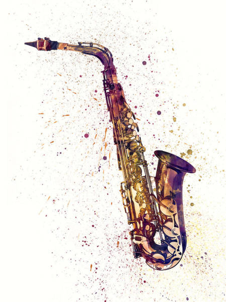 Music Instrument Digital Art - Saxophone Abstract Watercolor by Michael Tompsett