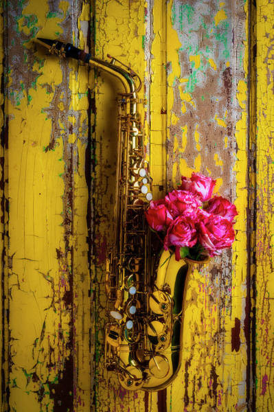 Wall Art - Photograph - Saxophone And Roses On Wall by Garry Gay