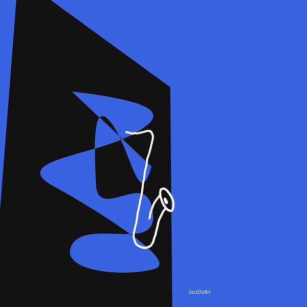 Digital Art - Saxophone In Blue by David Bridburg