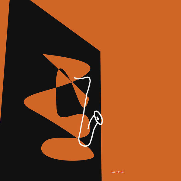 Digital Art - Saxophone In Orange by David Bridburg
