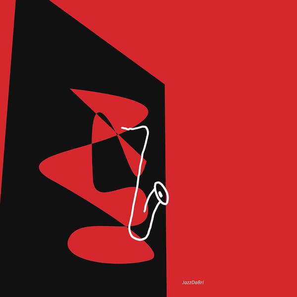 Digital Art - Saxophone In Red by David Bridburg