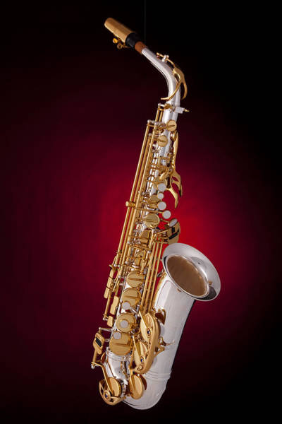 Saxophone On Red Spotlight Art Print