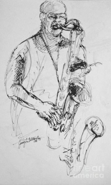 Sax Drawing - Saxophonist Study by Jamey Balester
