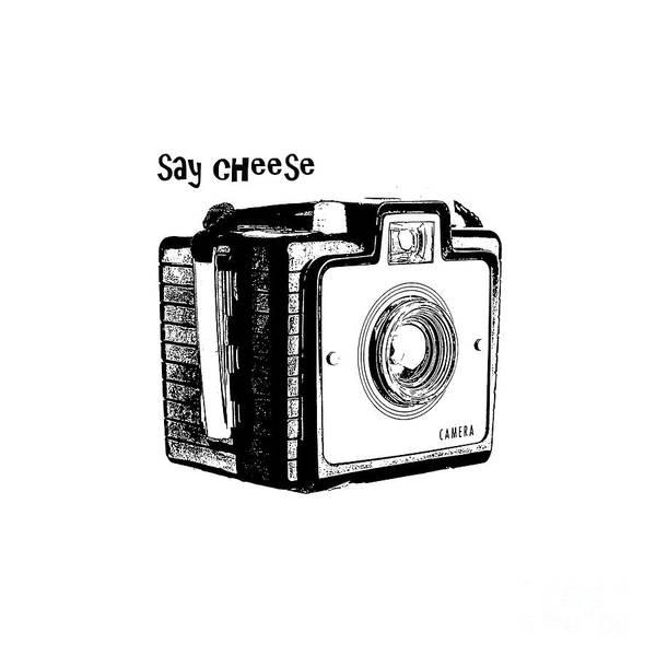 Digital Art - Say Cheese Old Film Camera Round Circle Blanket Towel by Edward Fielding