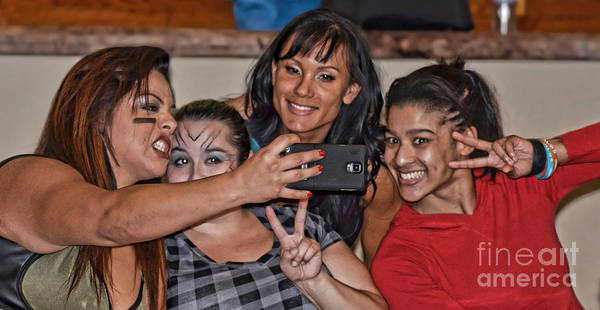 Pro Wrestler Wall Art - Photograph - Say Cheese Pro Wrestlers Ruby Raze, The Fallen Flower, Kahmora And Nicole Savoy by Jim Fitzpatrick